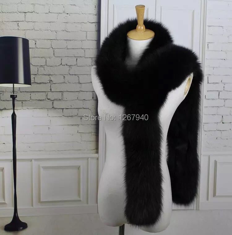 YR478 Luxury Top Quality Genuine Fox Fur Boa Scarf Ladies Real Fur Long Muffler~Customize ~ Wholesale ~ OEM order(China (Mainland))