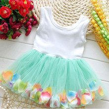 Fashion Summer Colorful Mini Tutu Dress Petal Hem Dress Floral Clothes Princess Baby Dress Summer For Baby Dresses Girl(China (Mainland))
