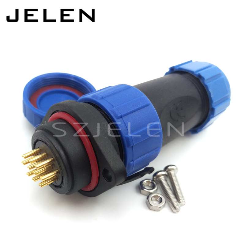 SP2110, 10 pins power waterproof cord led wire connector,IP68, power cables wires waterproof connector 10pin plugs and sockets(China (Mainland))
