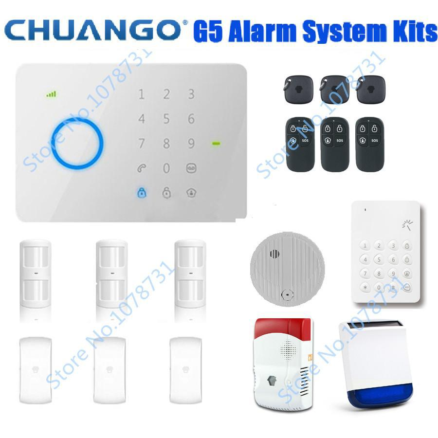 DHL Free Shipping! Chuango G5 Touch Keypad GSM SMS Wireless Home Security Burglar Alarm System Accessories