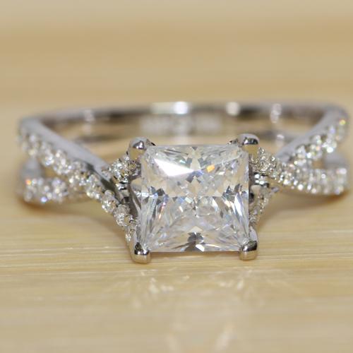 luxury quality genuine 14k 585 white gold 1 carat princess