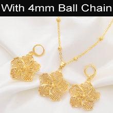 Anniyo Blume Schmuck Sets Anhänger Halsketten & Ohrringe für Frauen Mädchen Gold Farbe Mikronesien Guam Schmuck #017016(China)