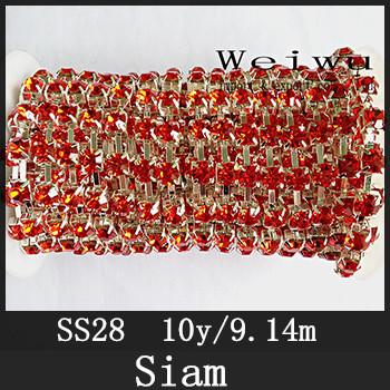 China Handmake Bright 28ss 6.0-6.2mm 10 Yards Siam Silver Base Strass Sewing Rhinestone Chain(China (Mainland))
