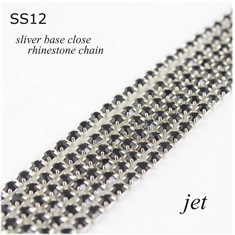good deal discount sales 10yards/lot ss12 JET rhinestone silver base cup chain for diy crystal jewelry accessories(China (Mainland))