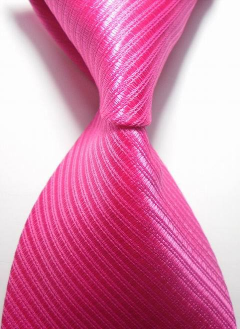 New Striped Hot Pink JACQUARD WOVEN Men's Tie Necktie weddings party business form tie 2042(China (Mainland))