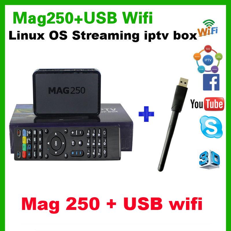 Mag250 iptv box + usb wifi adapter HD linux iptv box mag245 basic version set top box mag 250 box Free shipping(China (Mainland))