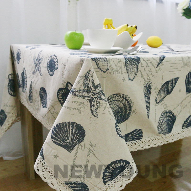 High quality Shell casual style Tablecloth Linen rectangular Table cloth seefood print dustproof lace tablecloths Home textile(China (Mainland))