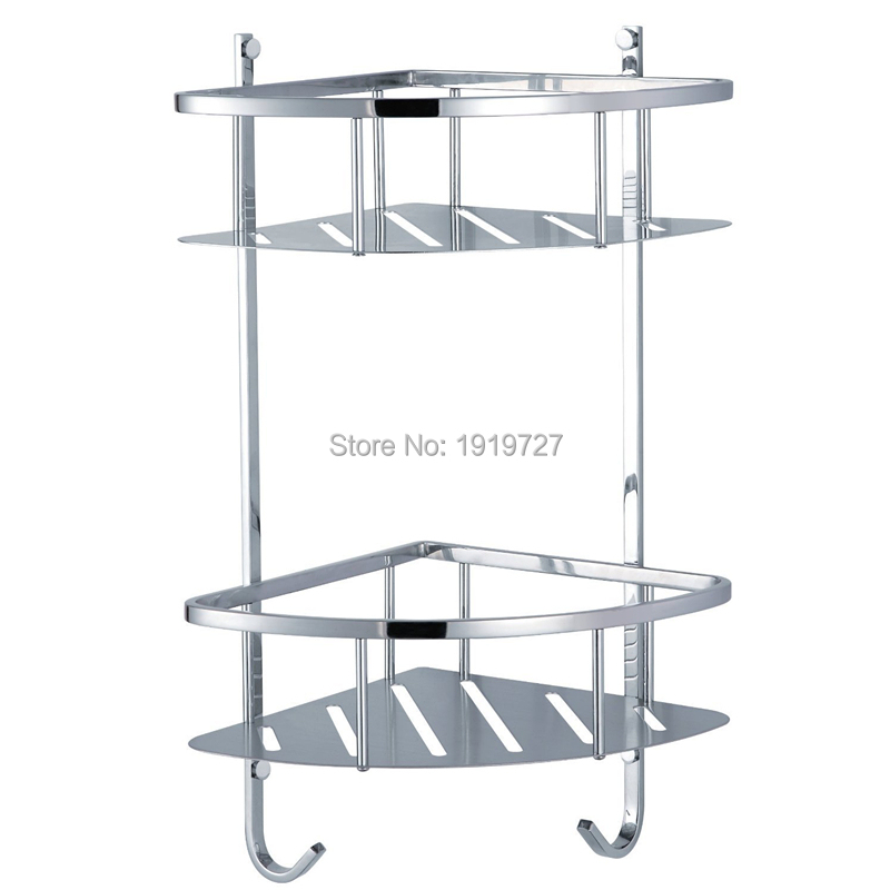 Factory Direct High Quality Wholesale Shower Corner Shelf Stainless Steel Caddy Bathroom Organizer Storage Dual Layer(China (Mainland))