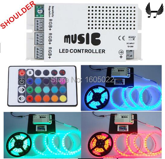 Audio sound sensitive controller 12V-24V 24 Keys Wireless IR Remote Control LED Music Sound Control RGB led Controller(China (Mainland))