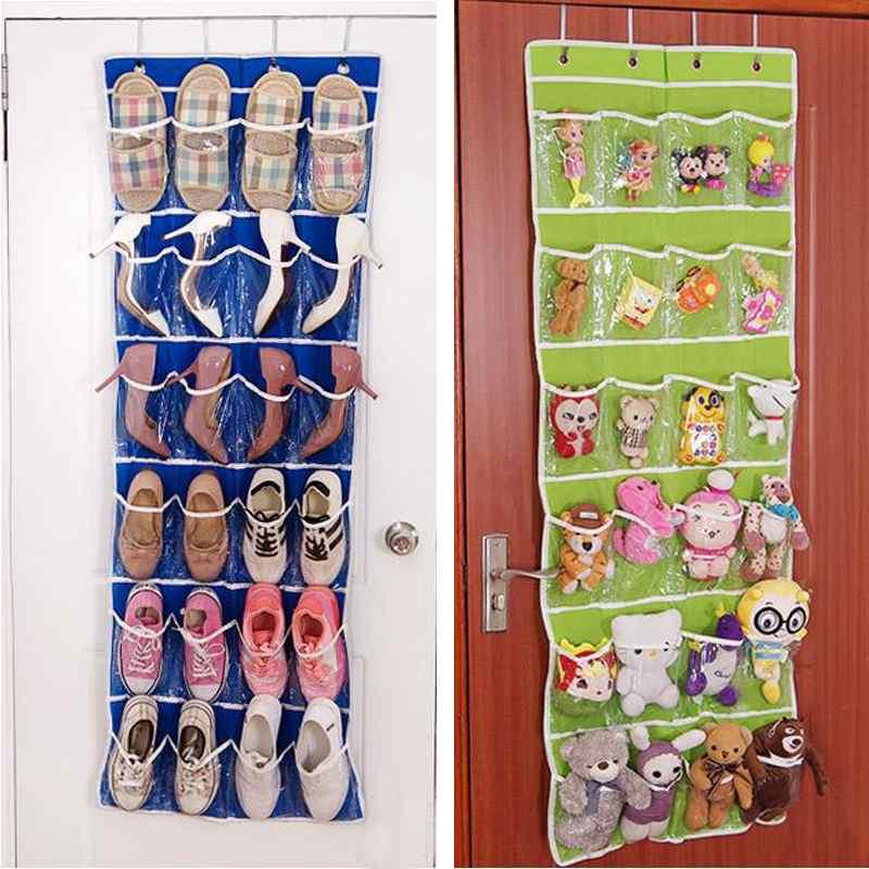 24 Pockets Clear Over Door Cloth Hanging Storage Bag Shoe