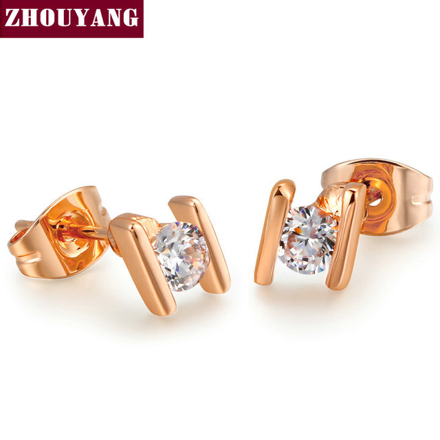 Alphabet H 18K Real Gold Plated CZ Diamond Stud Earrings Jewelry Austrian Crystal Wholesale For Women party Top Quality ZYE010