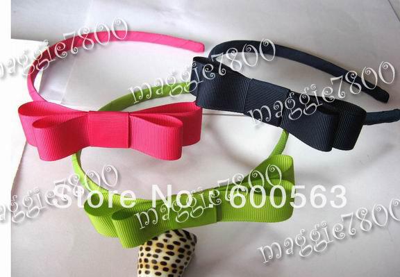 "Multi-Color 3.5"" BabyGirls handmade tuxedo bow hairband grosgrain headband Boutique hairbows B007"