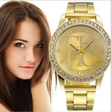 Relojes damas marca de lujo oro acero cuarzo ginebra Casual cristal del Rhinestone pulsera Relogio Feminino