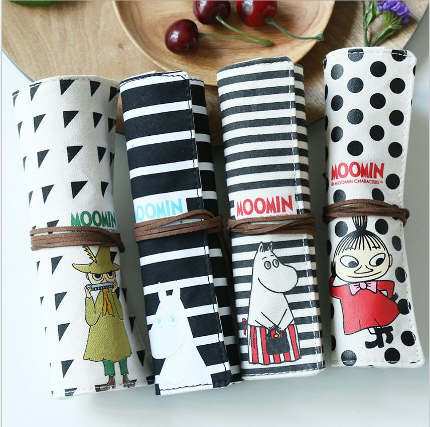 Cartoon Moomin Canvas Roll Pencil Holder Bag Stationery Storage Organizer Case School Office Supply Gift(China (Mainland))