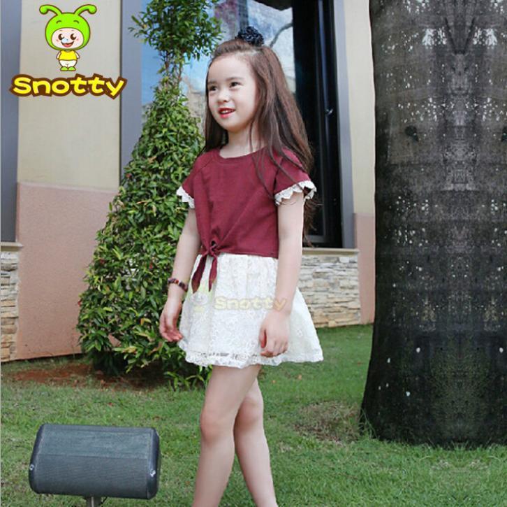 New Girl Ski Suit Wine Red T shirt+white Skirt Summer Teen Girl Clothing Set For 2-10 Age Children Clothing Overseas KS-14015(China (Mainland))