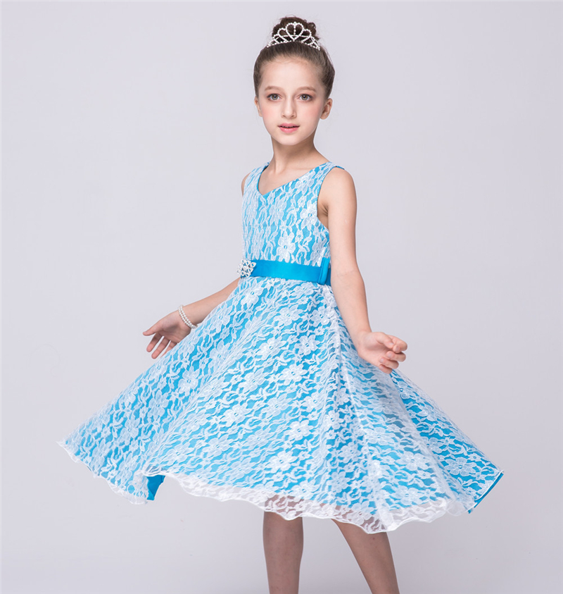 2016 Summer Best Selling Teenage Girls Dresses Baby Girl Black White Prom Lace Dress for Wedding Party Wear Clothing Vestidos(China (Mainland))