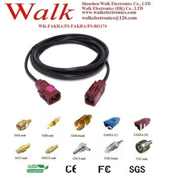 RF cable assembly: FAKRA female straight to FAKRA female straight with RG174 cable