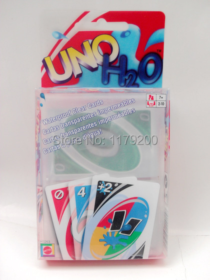 New Transparent Plastic Waterproof UNO H2O Card Games Fun Family Party Playing Poker Cards Set Board Free shipping(China (Mainland))