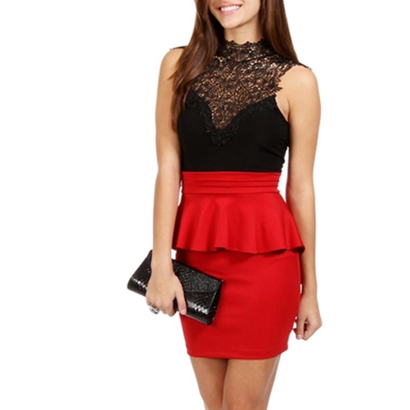 Фото коротких красно черных платьев