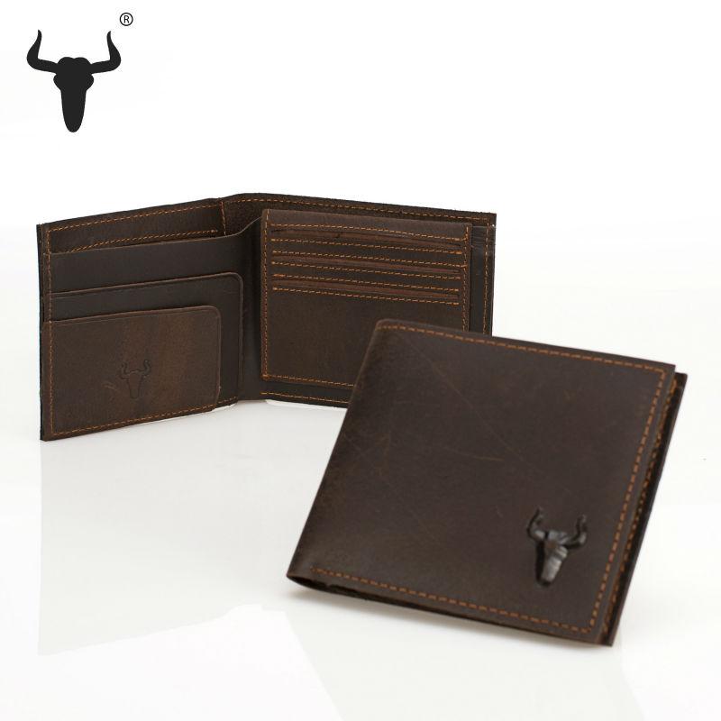 brown retro men's wallet crazy horse hard leather individuation purse practical bifold solid vintage short hide slot card holder(China (Mainland))
