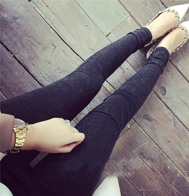 New 2017 Washed Women Imitation Jeans Mujer Stretch Cotton Denim Pants Trousers Boyfriend Plus Size Skinny Jeans Pencil Pants