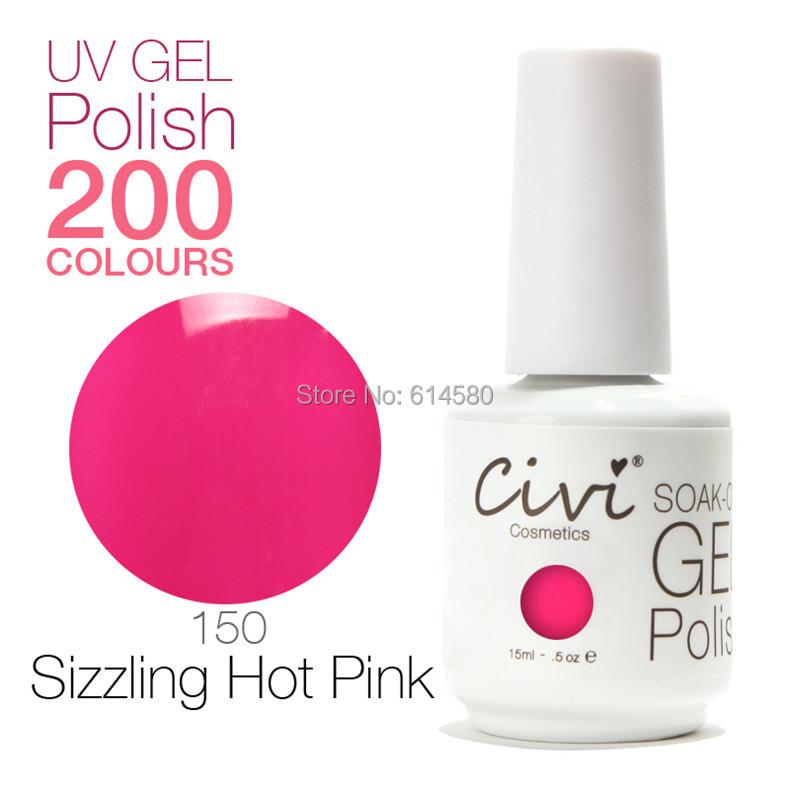 6x/lot Civi 15ML Top&Base Coat&150 Sizzling Hot Pink Color UV Gel Nail Polish Cosmetics Nail Art 200 Colors For Choose(China (Mainland))