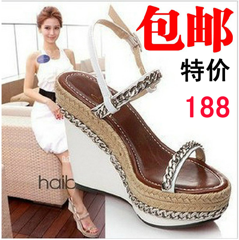 Star Buckle Summer Shoes Woman Chain Straw Braid Sandals Genuine Leather Women Sandal Sexy Red Sole Pumps Platform Wedge Sandals(China (Mainland))