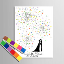 E-HOME Fingerprint Signature Canvas Painting Fireworks Wedding Gift wedding decoration many styles Choice(Includes 6Ink Colors)(China (Mainland))