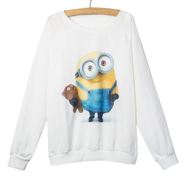 Cute Миниons Printed Sweatshirt Женщины Autumn Design Тонкий Длинный Рукав Ladies ...