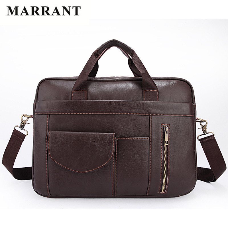 MARRANT High Quality Real Genuine Leather Briefcase Vintage Business Messenger Bags 14 inch Laptop Bags Large Capacity Man Bags(China (Mainland))