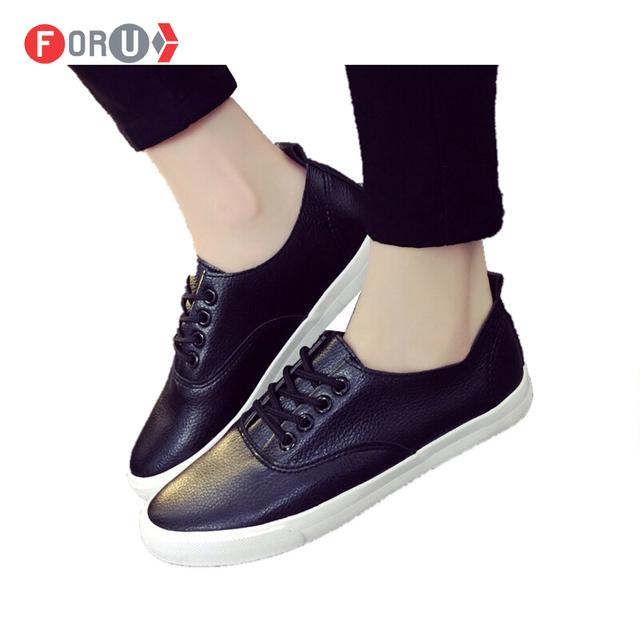 2016 весенних женской обуви плоским искусственная кожа обувь свободного покроя обувь ...