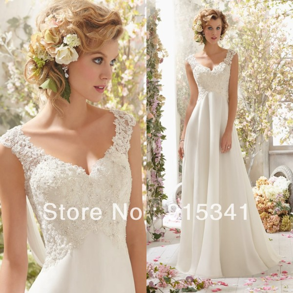Elegant stylish a line v neck lace beadings chiffon cheap for Cheap wedding dresses for pregnant women