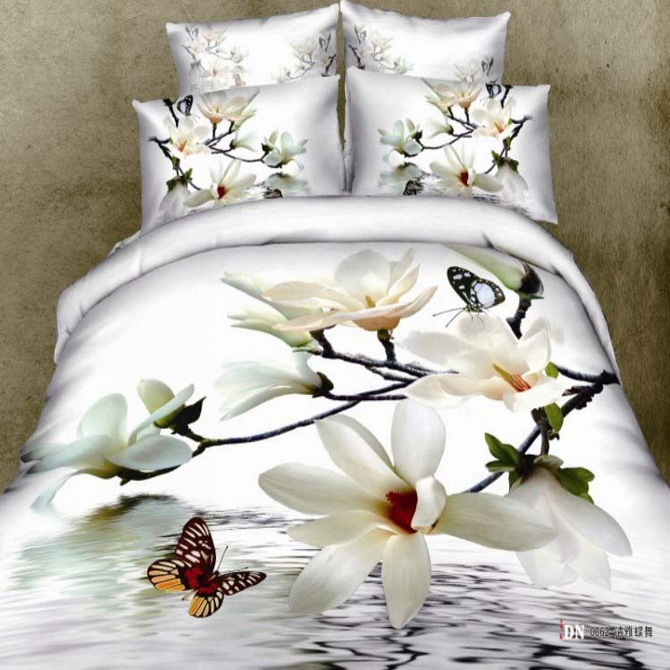 New fashion 3d effect 100% cotton Home textile 4pcs flowers butterfly duvet/quilt/comforter/bedlinen cover set Queen size/B2149(China (Mainland))