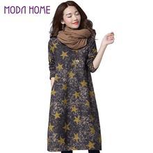 Vintage 2017 Women Fashion Cotton Linen Dress Autumn Long Maxi Dresses Pockets Star Long Sleeve Casual Loose Vestidos Plus Size(China (Mainland))