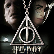 vintage necklaces silver men boys jewelry Harry Potter Deathly Hallows Resurrection Stone rotating pendant chain necklace M32(China (Mainland))