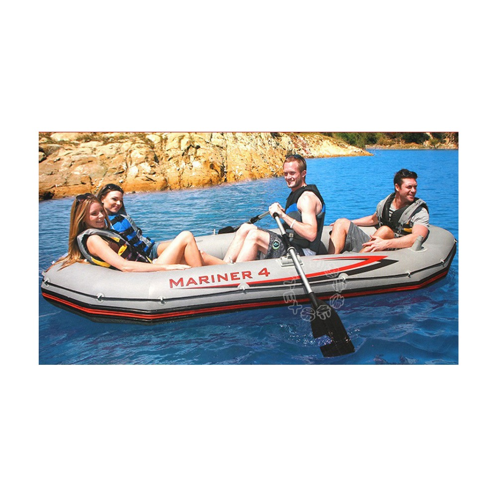 Free shipping INTEX MARINER SUPER 4 person inflatable boat 328*145*48cm, 137cm Aluminium oards, hand pump, repair patch(China (Mainland))