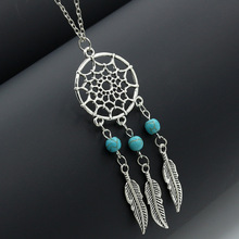 European and American Fashion Jewelry Turquoise Tassel Feather Necklace Dreamcatcher Sweater Chain Bohemia Pendent Necklace