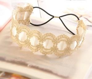 2015 new Wholesale fashion handmade ribbon with lace elastic hairbands headband party hairband hair accessories(China (Mainland))