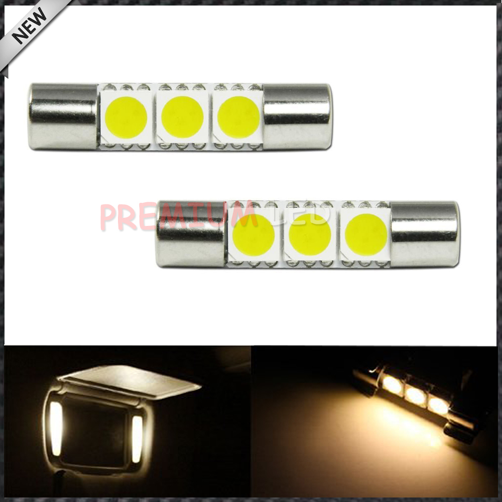 Free shipping 2pcs/lot Warm White 3 SMD 6641 LED Bulbs For Car Vanity Mirror Lights Sun Visor ...