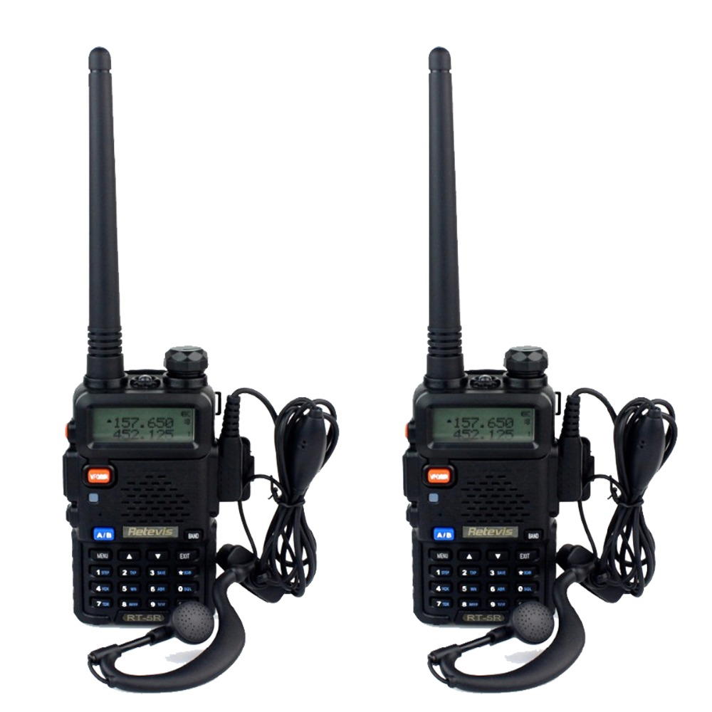 2 pcs Retevis RT 5R Walkie Talkie 5W 128CH UHF/VHF DTMF VOX Dual Band Frequency Portable Radio A7105A(China (Mainland))
