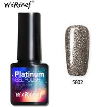WiRinef 8 ml 3D Brilho Platina Semi-Permanente de Gel Unha Polonês Soak Off Prego Uv Led Colorido Super Brilhante laca Gel(China)