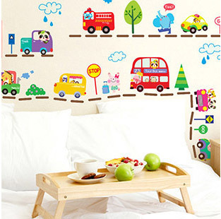 New Cartoon Cars Boys Bedroom Decor Wall Sticker Cute Animals Kids Room Wall Stickers Removable PVC Home Stiker Vinilos QT078(China (Mainland))