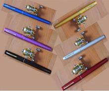 Mini Pen Fishing Rod Shape Portable Pocket Aluminum Alloy Hard Fish Spinning Stream Rod Pole With Reel 20CM  6Color