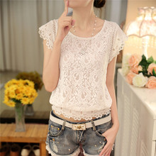 New Women Casual Basic Summer Lace Chiffon Blouse Top Shirt Short sleeves Hollow out Embroidery Patchwork Plus Size