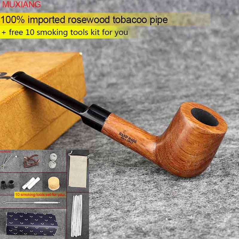 MUXIANG Imported Rosewood Tobacco Pipe Straight Stem with Acrylic Saddle Mouthpiece 9mm Carbon Filter Men Smoking Pipe ad0002(China (Mainland))