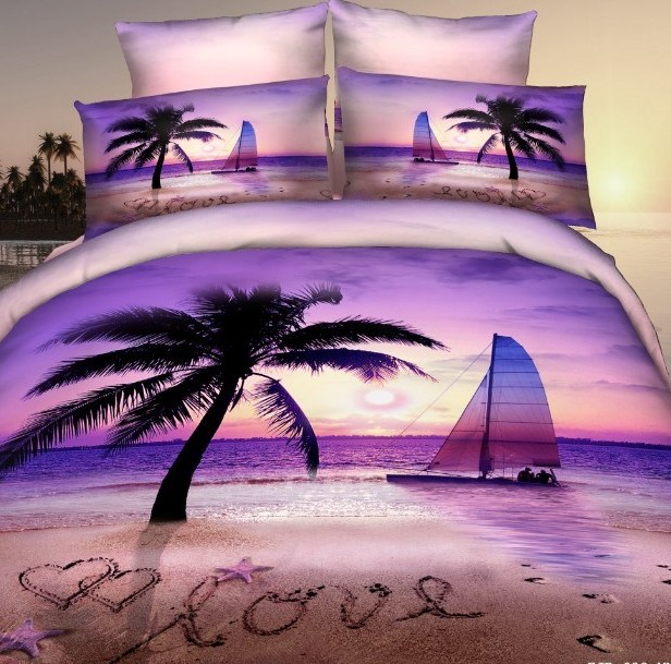 3D Purple beach palm tree bedding set for queen size romantic duvet quilt bedspread cover bed in a bag sheet bedroom quilt linen(China (Mainland))