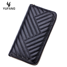 YUFANG Women Purse Genuine Leather Wallet Female High Quality Laies Clutch Bag Trendy Waves Emboss Women Purse Long Money Bag(China (Mainland))