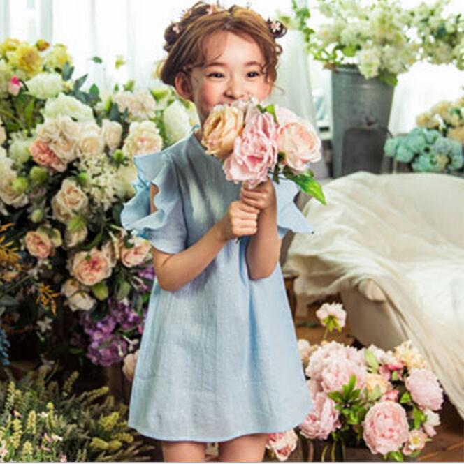2016 Summer Korean Style 110-160cm Children Cotton Off Shoulder Dress Kids Casual Cotton Dress Teenage Dress Blue White(China (Mainland))
