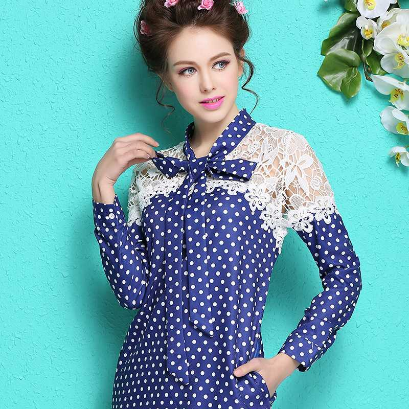 Free Shipping womens lace shawl new watersoluble mosaic blue waves bowtie collar long sleeve dress 1435219285(China (Mainland))