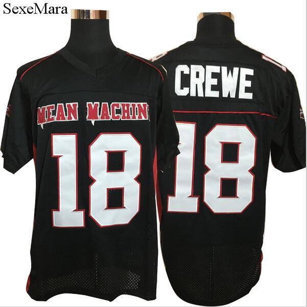SexeMara American Football Jerseys Movie Adam Sandler 18 Paul Crewe Mean Machine Convicts Football Jersey Stitched Sewn Black(China (Mainland))